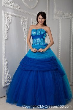 Hand Flowers Blue Sweetheart Ruch Quinceanea Dress with Sequins