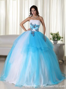 Aqua and White Zipper-up Quinceanera Dress Strapless Tulle Beading