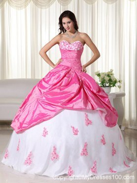 Pink and White Sweet 16 Birthday Ball Gown Sweetheart Appliques