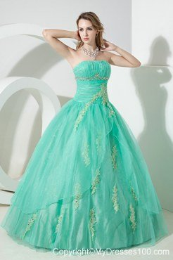 Beading Mand Embroidery Zipper-up Turquoise Quinceanera Dress Strapless