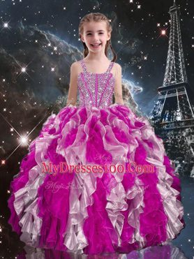 Eye-catching Floor Length Lace Up Pageant Gowns For Girls Fuchsia for Quinceanera and Wedding Party with Beading and Ruffles