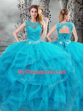 Baby Blue Sleeveless Beading and Ruffles Floor Length Quinceanera Dress