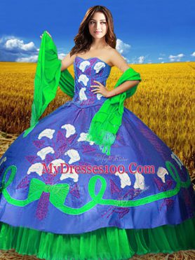 Hot Selling Multi-color Quinceanera Gowns Military Ball and Sweet 16 and Quinceanera with Embroidery Sweetheart Sleeveless Lace Up
