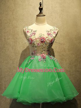 Noble Green A-line Embroidery Prom Evening Gown Lace Up Organza Sleeveless Mini Length