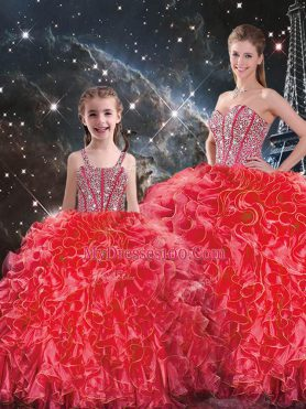 Coral Red Lace Up Sweetheart Beading and Ruffles 15 Quinceanera Dress Organza Sleeveless
