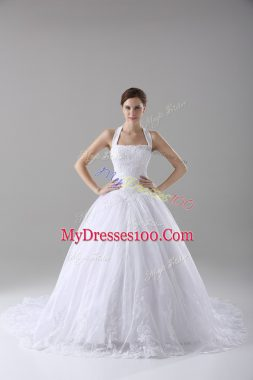 Lace Bridal Gown White Lace Up Sleeveless Brush Train