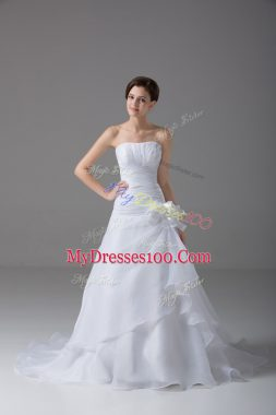 Beautiful White Organza Lace Up Strapless Sleeveless Wedding Dresses Brush Train Hand Made Flower