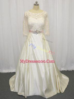 Superior Zipper Bridal Gown White for Wedding Party with Beading and Lace Brush Train