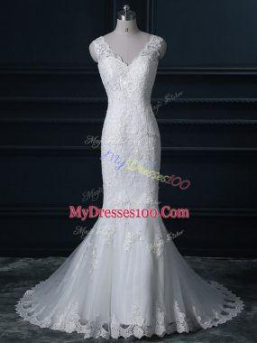 Extravagant White Sleeveless Tulle Brush Train Backless Wedding Dress for Wedding Party