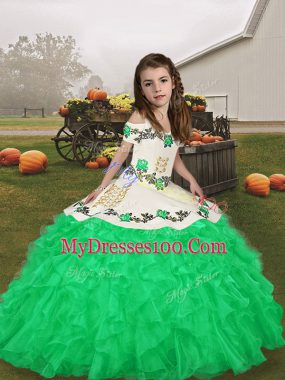 Green Sleeveless Embroidery and Ruffles Floor Length Little Girls Pageant Dress