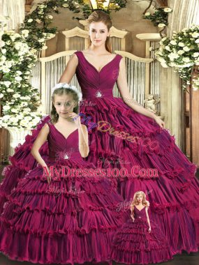 Delicate V-neck Sleeveless Organza 15th Birthday Dress Ruffled Layers Backless