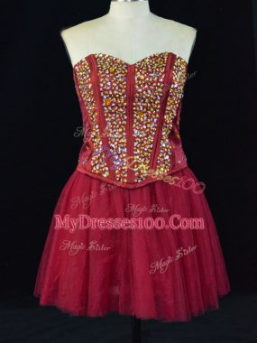 Glorious Wine Red Sleeveless Beading Mini Length Homecoming Dress Online