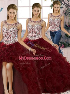 Hot Sale Burgundy Sleeveless Floor Length Beading and Ruffles Lace Up 15th Birthday Dress