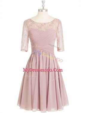 Ideal Pink A-line Scoop Half Sleeves Chiffon Knee Length Zipper Lace and Ruching Homecoming Dress