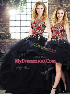 Sleeveless Tulle Floor Length Lace Up Vestidos de Quinceanera in Black with Beading and Embroidery