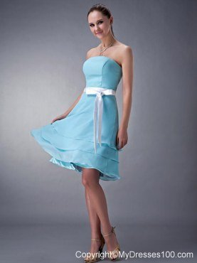 Three Layered Strapless Knee-length Bridesmaid Dresses in Aqua Blue