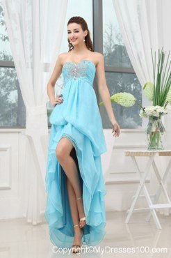 Aqua Blue Cocktail Dress With Appliques High-low For Custom Made