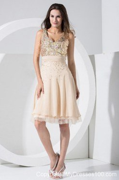 Champagne Prom Cocktail Dress With Sequin V-neck for Cheap 2013