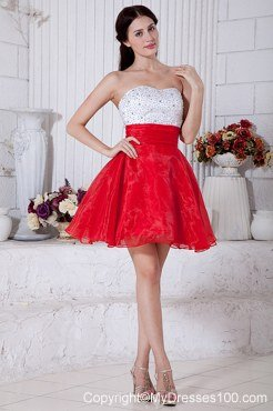 Red and White Strapless Short Cocktail Dress with Beading