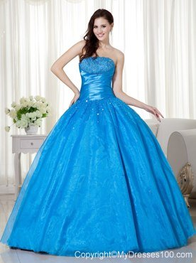 blue strapless corset floorlength beading quinceanera dresses