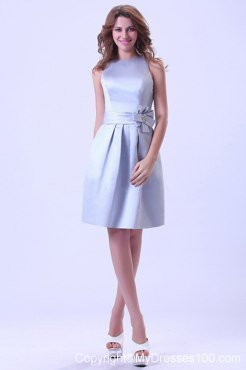 Bateau Silver Satin Bridesmaid Dress With Hand Made Flower