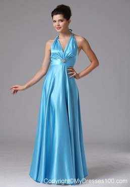 Stylish Custom Made Baby Blue Halter 2013 Prom Dress In