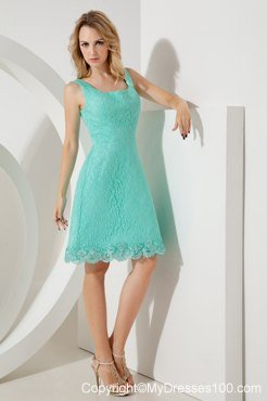 Turquoise A-line Square Knee-length Bridesmaid Dress with Lace