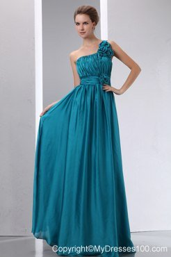 Teal Bridesmaid Dress Empire One Shoulder Hand Flowers and Ruche