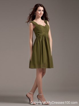 Straps Olive Green Ruched Chiffon Knee-length Bridesmaid Dress