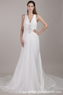 White V Neck Chapel Train Appliques Wedding Dresses With Beading: $192.89;  4 ( 0Reviews ); In Discount Wedding Dresses