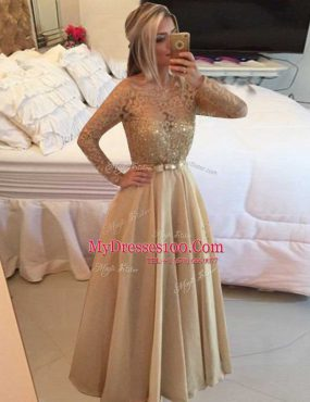 Low Price Floor Length A-line Long Sleeves Champagne Dress for Prom Zipper