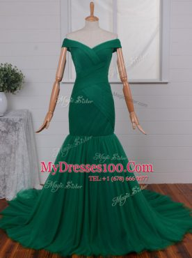 Gorgeous Mermaid Green Tulle Zipper Off The Shoulder Sleeveless Prom Evening Gown Court Train Ruching