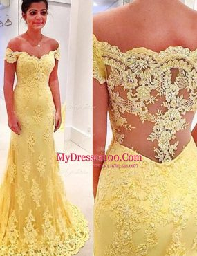Attractive Mermaid Off The Shoulder Short Sleeves Lace Prom Dress Appliques Brush Train Side Zipper
