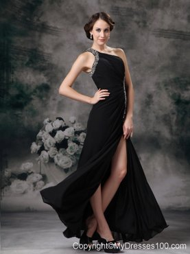 Customize Black Empire One Shoulder Evening Dress with Beading