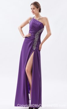 Purple Column One Shoulder Formal Evening Dress Beading Floor-length