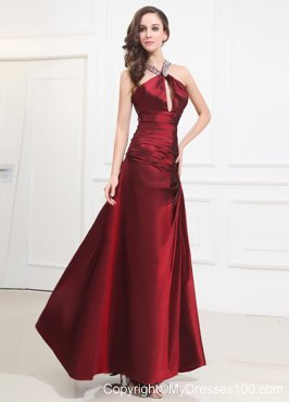 Beading Foraml Evening Dresses Halter Wine Red