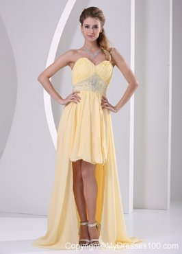 High-low Sweetheart Beaded Light Yellow Detachable Graduation Dress