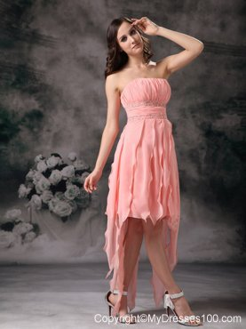 Perfect Peach Knee-length Short Prom Graduation Dress Strapless