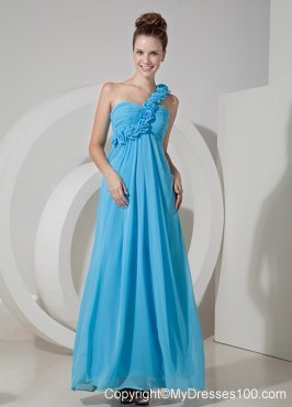 Cheap Aqua Blue One Shoulder Homecoming Dresses Hand Flowers