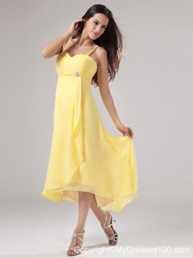Tea Length Yellow Prom Dresses