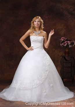 Diamonds and Lace Flowers Decorated Wedding Gown with Brush train