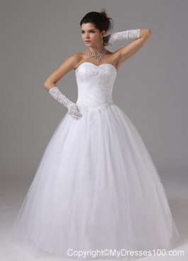 Lace-up Back Sweetheart Puffy Dress for Wedding with Diamonds and Appliques