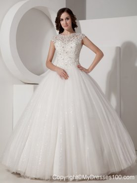 High-Neck Floor-length Lace-up Wedding Gown in Sequined Lace