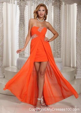 Special Beading and Ruches Accent High-low Prom Gowns in Fluorescent Orange
