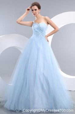 Appliques Accent One Shoulder and Waist Long Princess Baby Blue Prom Gown