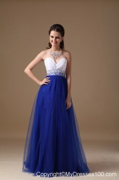 Princess Floor-length Tulle Prom Dresses in White and Royal Blue