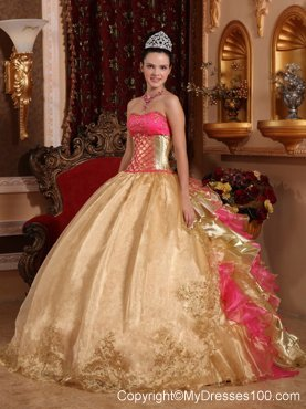 Unique Gold and Pink Ruched Back Floor-length Quince Dresses