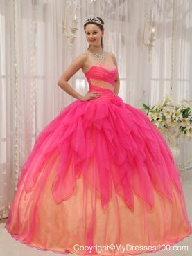 Hot Pink and Champagne Puffy Floor-length Dresses for Quince