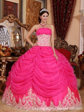 Hot Pink Puffy Ball Gown with White Lace Hem Quince Dresses