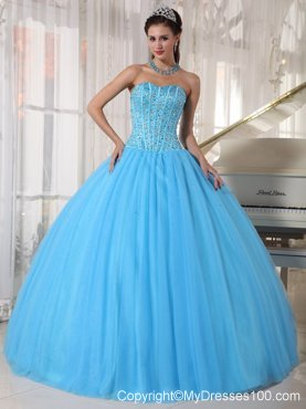 Corset Back Pleated Puffy Sweet 15 Dresses with Beading in Aqua Blue
